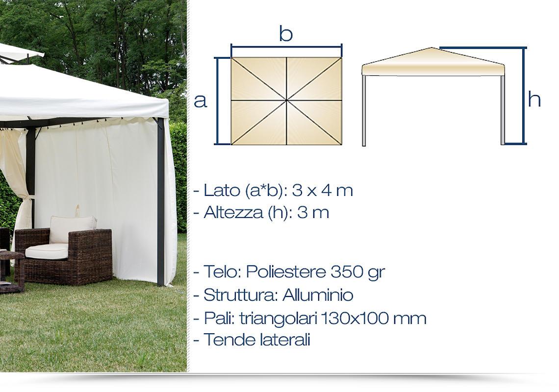 Gazebo in alluminio ideale per ombreggiare e proteggere for Piani per gazebo con camino