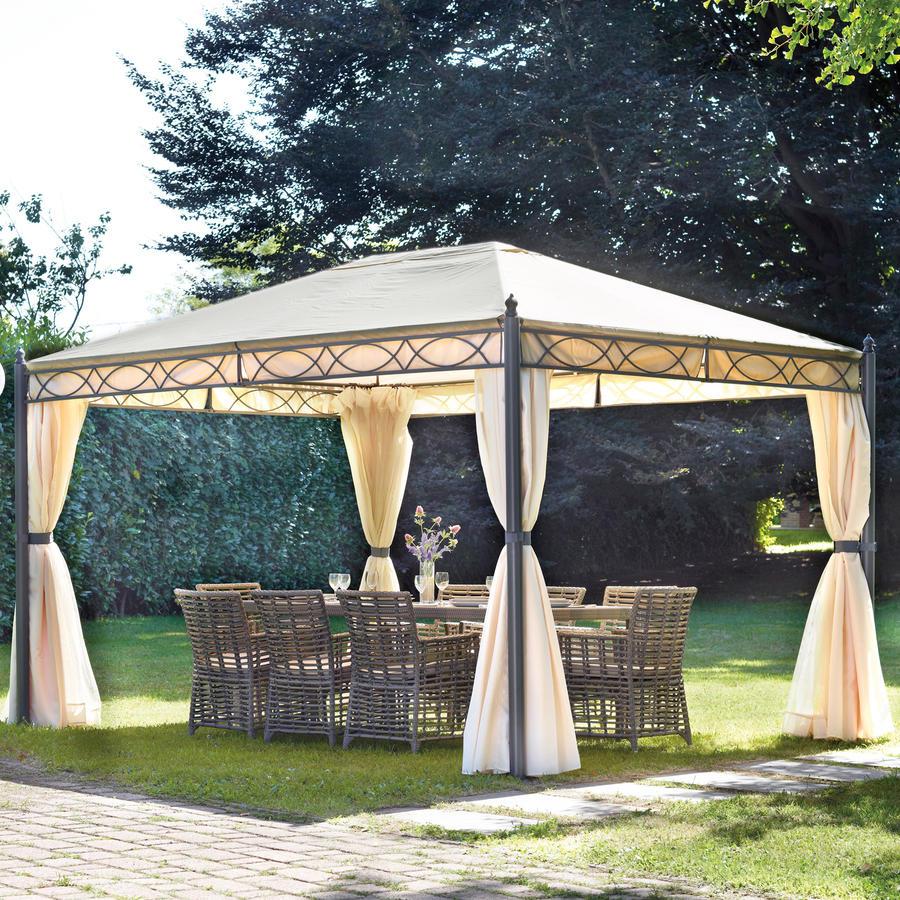 Gazebo 3x4 in ferro da giardino completo di tende laterali for Soluzioni ombra giardino