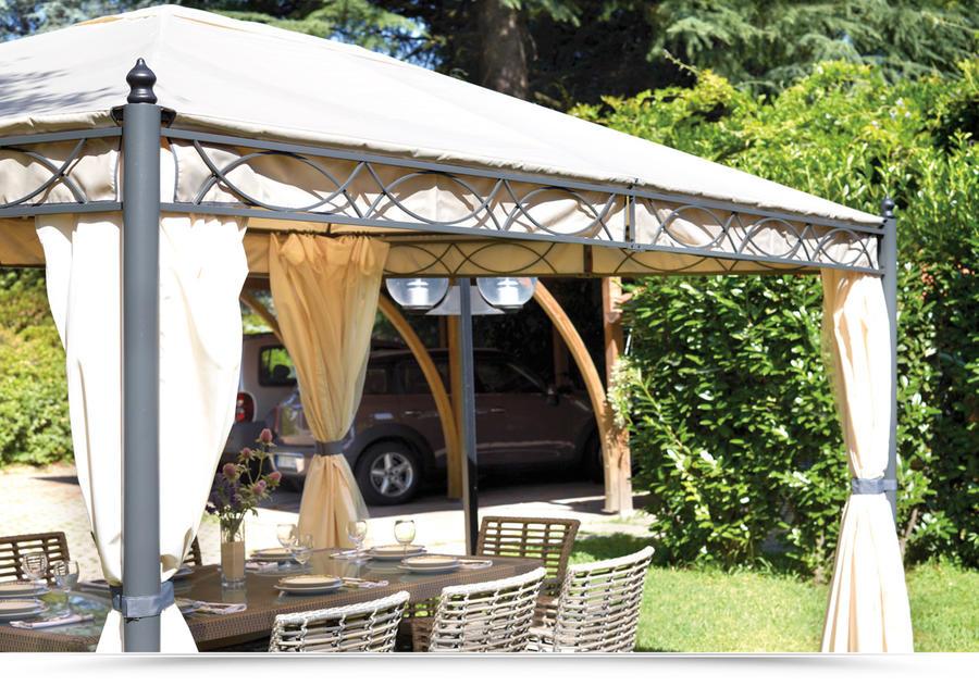 Gazebo 3x4 in ferro da giardino completo di tende laterali for Arredo giardino bertoni