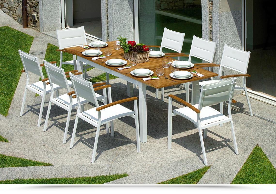 Tavoli Da Giardino Bologna.Tavolo Da Giardino In Teak Alluminio Ajaccio Allungabile 150 210 X 90 Cm Rtt 82