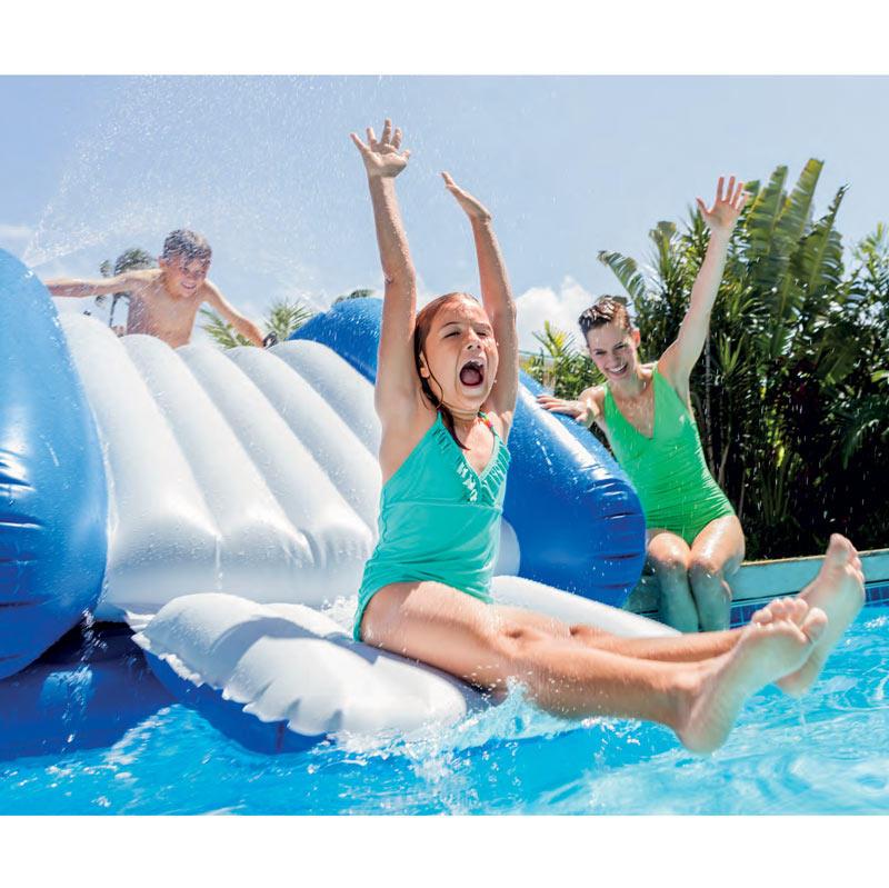 58849 parco giochi gonfiabile galleggiante con scivolo e spruzzo acqua intex - Scivolo gonfiabile per piscina ...