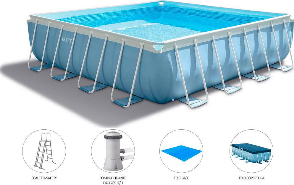 Piscina fuori terra intex square pools 427x427 codice for Coperture per piscine fuori terra intex