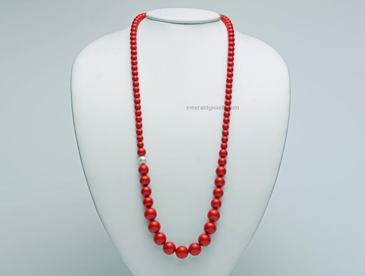 nuovo prodotto 16cf2 aec47 PCL4656 Collana Miluna con Corallo Rosso e Perla -