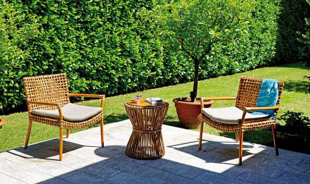 Set arredo giardino in rattan naturale set kerala pes