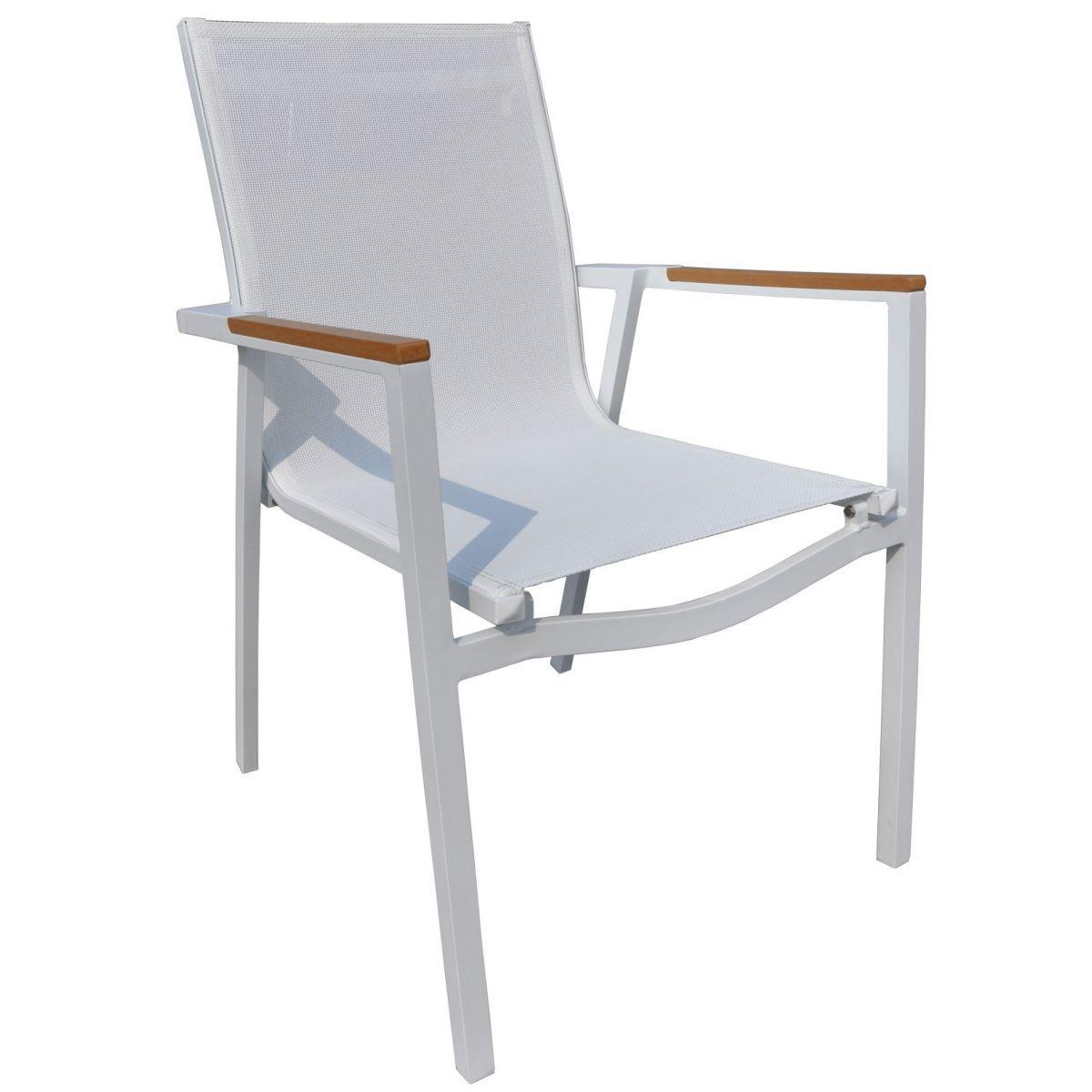 Sedie Da Giardino In Alluminio.Sedia Da Giardino Populonia Impilabile Resin Wood Alluminio Bianco