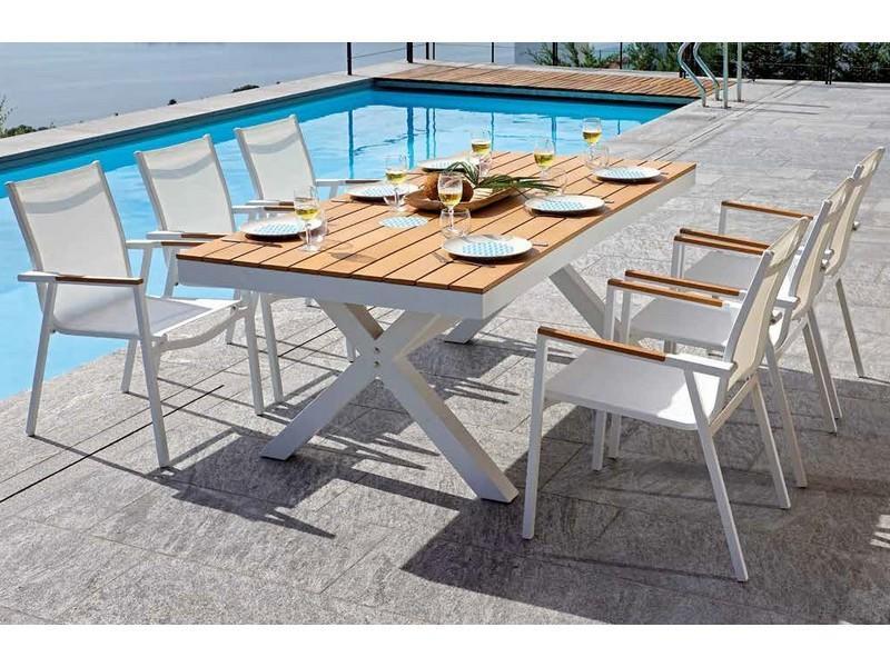Tavolo Da Giardino Alluminio.Tavolo Da Giardino Tavolo Baratti 200 X 100 Cm In Alluminio E Paino Resin Wood Teack Rte 58