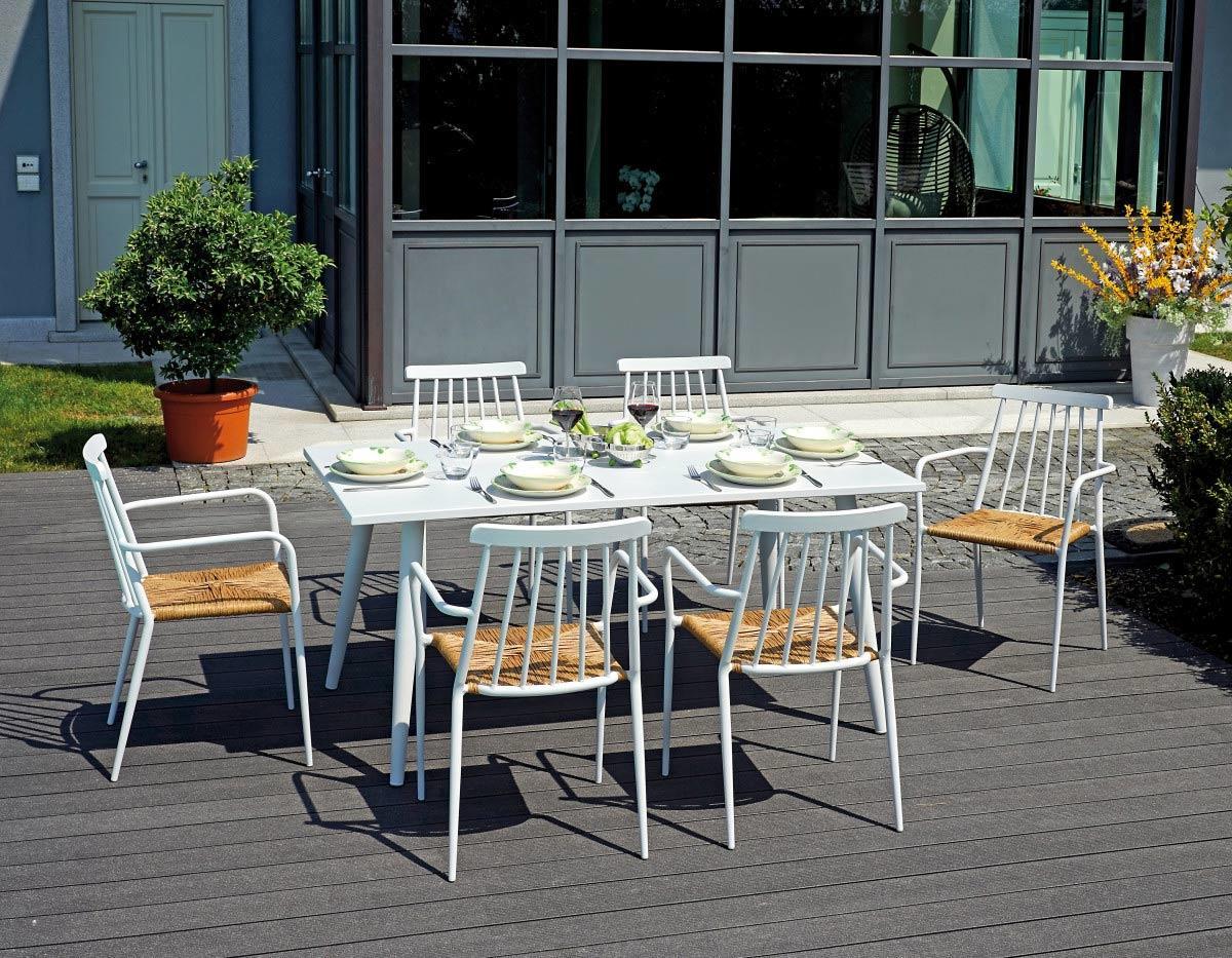 Tavolo Da Giardino Bianco.Tavolo Rettangolare Andora Alluminio Bianco 160 90 Cm Dining Set