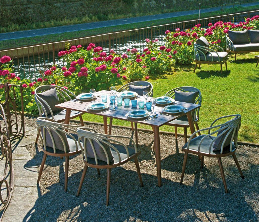 Set Pranzo Da Giardino In Legno.Set Da Pranzo Giardino Tavolo Dining Set Imperia In Alluminio Color Legno E Corda Dsa 11