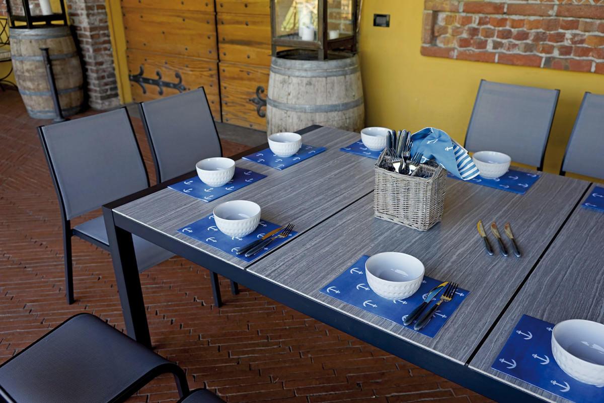 Tavoli Da Giardino Con Piano In Ceramica.Tavolo Da Giardino Tavolo Siena Cm 194 X 120 In Alluminio Grigio Rta 37