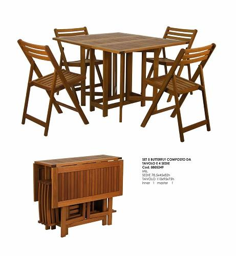 Set legno acacia salvaspazio chiudibile foldies set5 for Scaramuzza arredo giardino