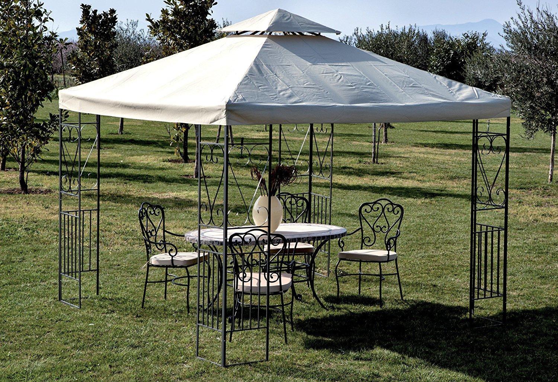 Gazebo da giardino bologna 3 x 3 in metallo antracite e for Arredo giardino bologna