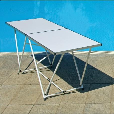 Tavolo pieghevole 200 x 60 in alluminio per mercatini buffet lavoro - Tavolo pieghevole con maniglia ...