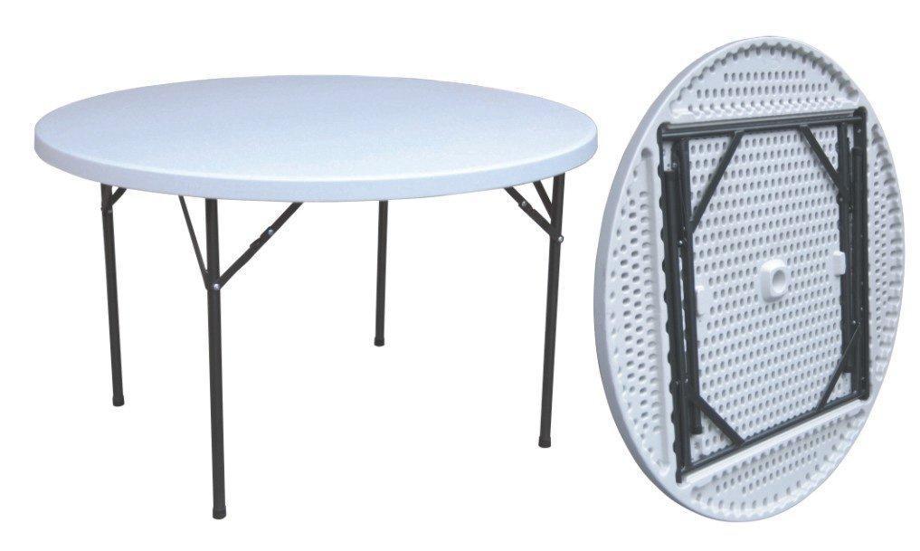 Piedi Pieghevoli Per Tavoli.Tavolo Catering Rotondo Fisso Cm 122 Hdpe Con Gambe Pieghevoli