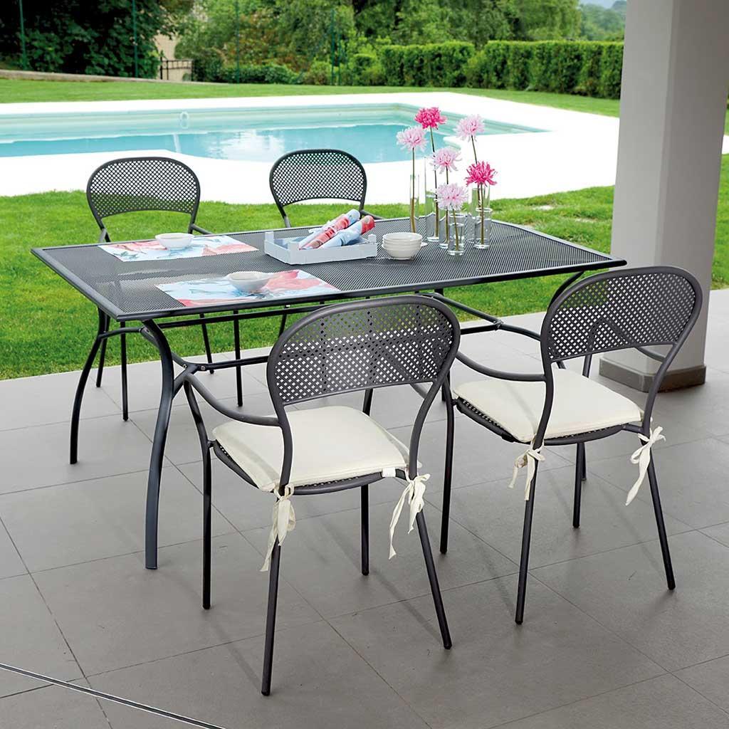 Sedia da giardino in ferro antracite intra impilabile cod for Sedie giardino ferro