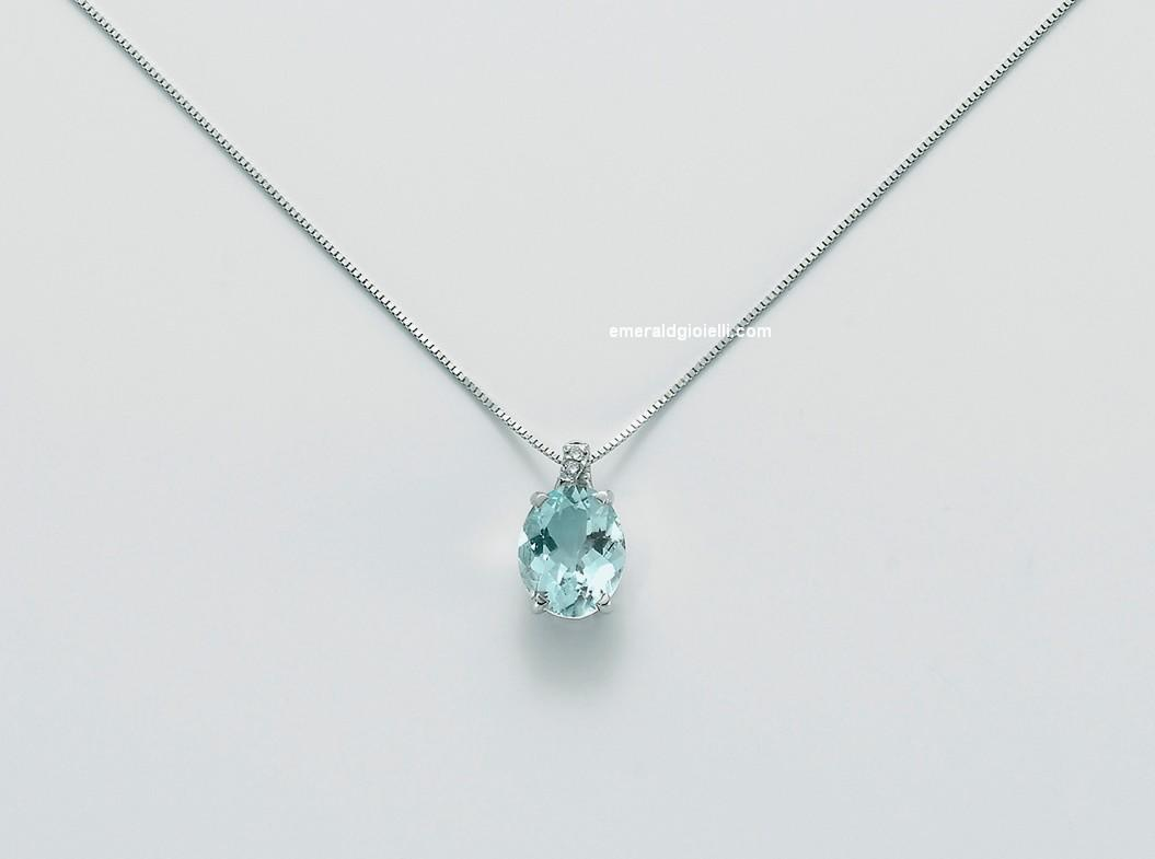 bene 69075 cbf6d CLD3399 Collana Girocollo Donna Miluna Acquamarina con Diamante -