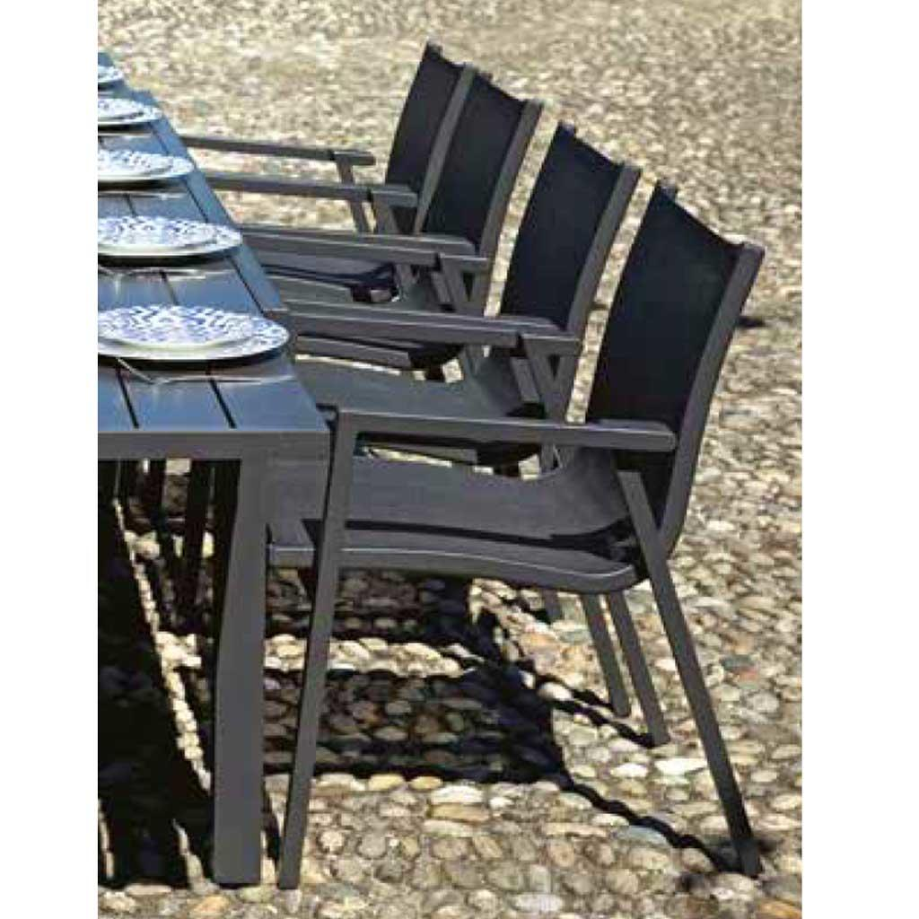 Set Sedie Da Giardino.Sedia Da Giardino Pienza Impilabile Dining Set In Alluminio