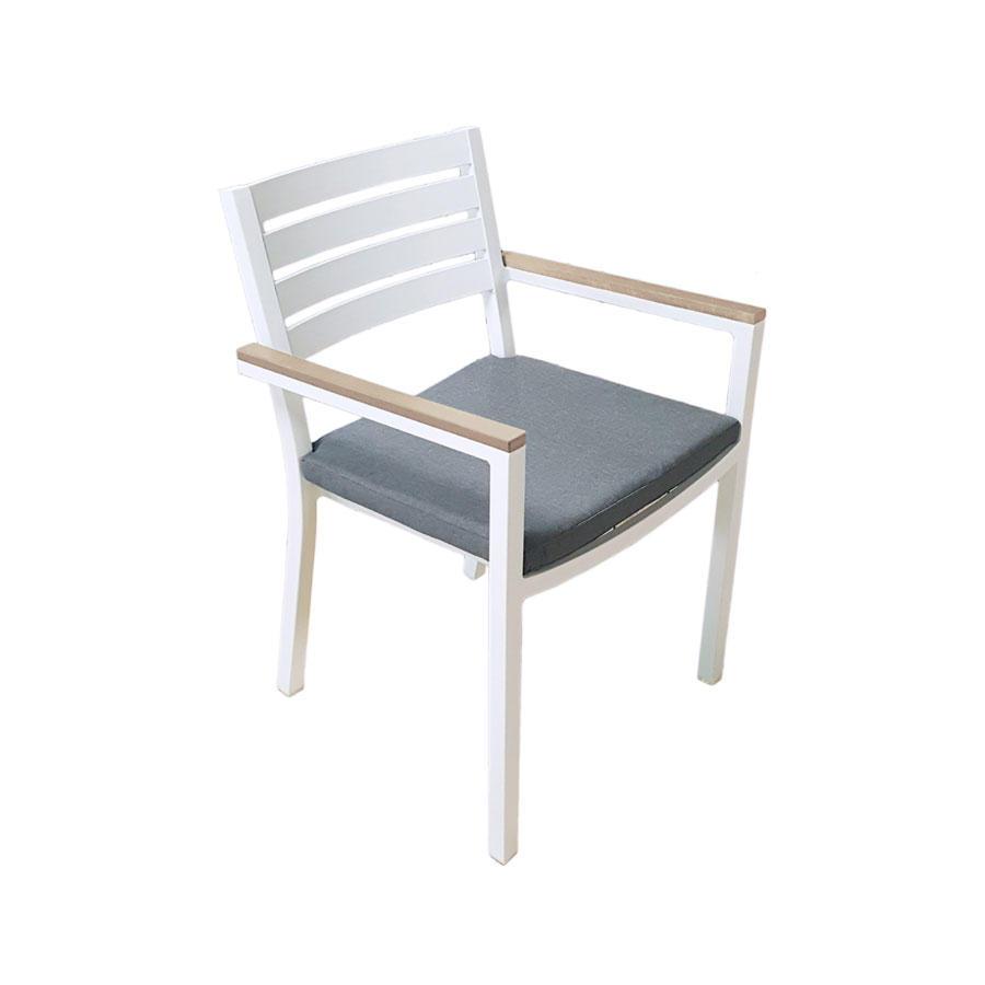 Set Sedie Da Giardino.Sedia Da Giardino Impilabile In Alluminio Con Cuscino Zoagli