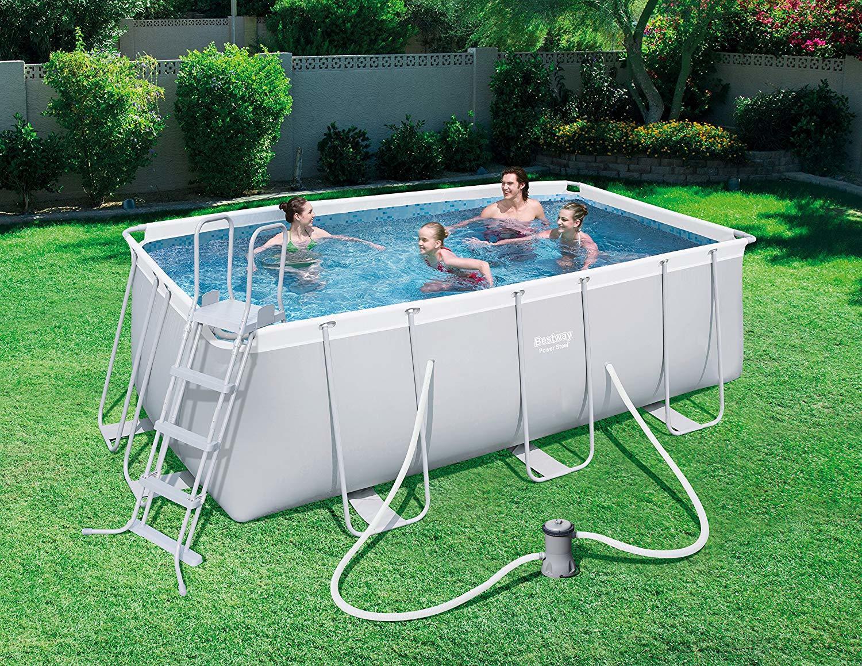 Piscine Da Esterno Rivestite In Legno piscina fuori terra da esterno rettangolare bestway mod. 56456 cm 412 x 201  h 122 modello nuovo