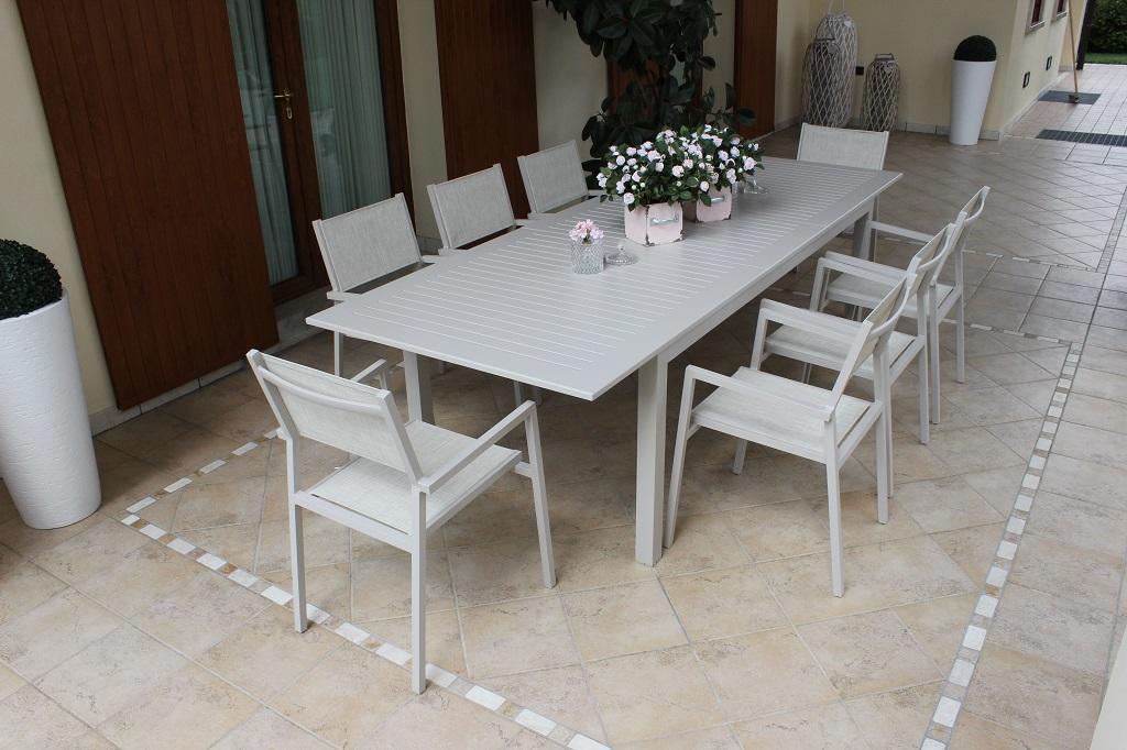Tavolo Da Esterno Allungabile.Tavolo Da Giardino In Alluminio Bianco Cubano Allungabile Misura 220