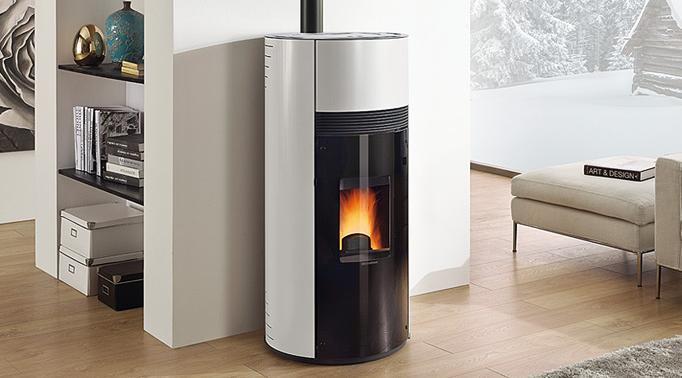 Stufa a pellet doroty rivestimento in acciaio potenza termica 9 kw 258 m3 riscaldabili colore bianco - Potenza stufe a pellet ...