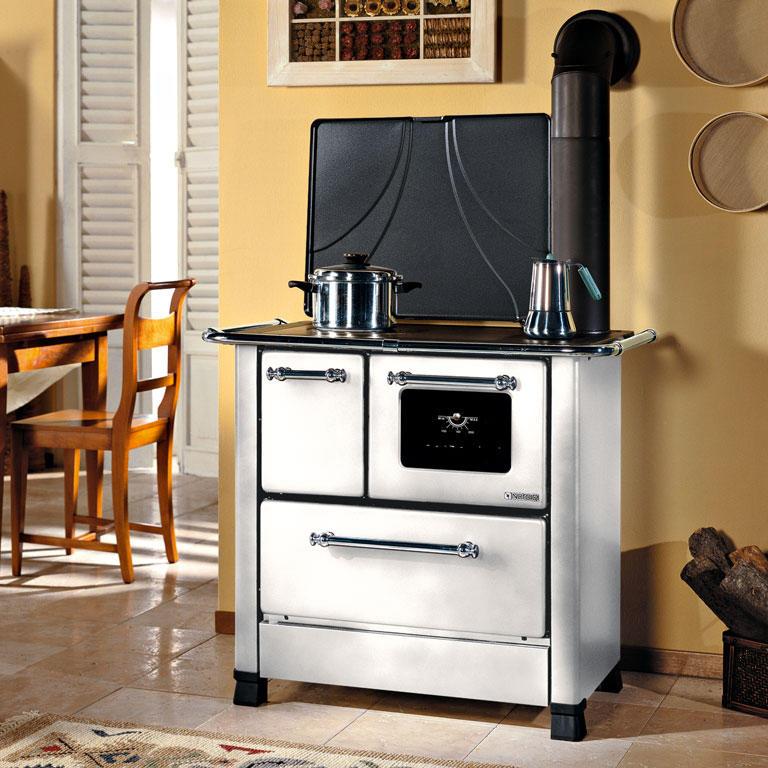 Cucina a legna romantica 3 5 dx acciaio porcellanato potenza termica nominale 5 kw 143 m3 - Cucina economica a legna nordica ...
