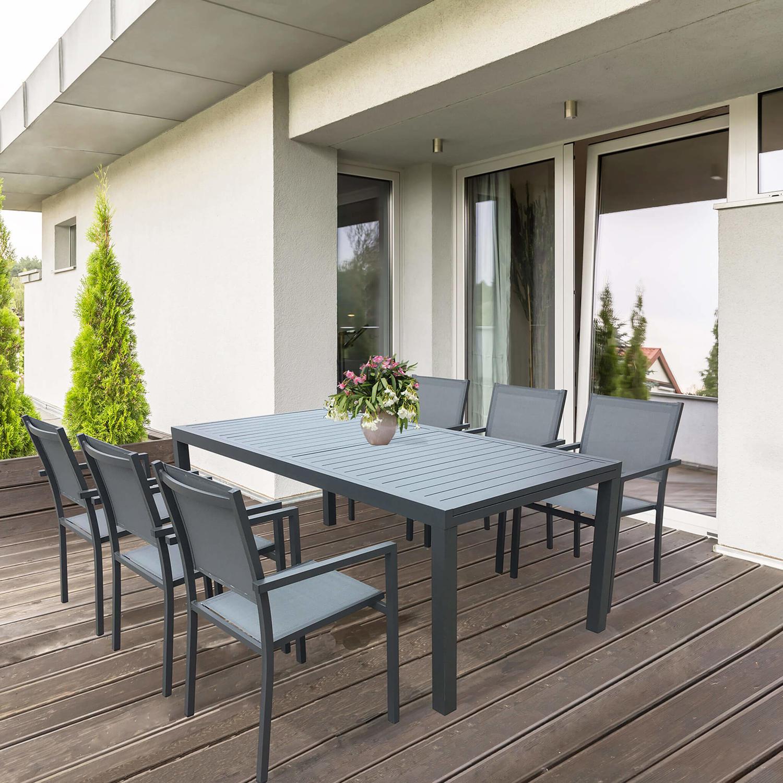 Immagini Tavoli Da Giardino.Offerta Tavolo Da Giardino Allungabile Formenteras In Alluminio Antracite Cm 200 300 X 100 X 74 H