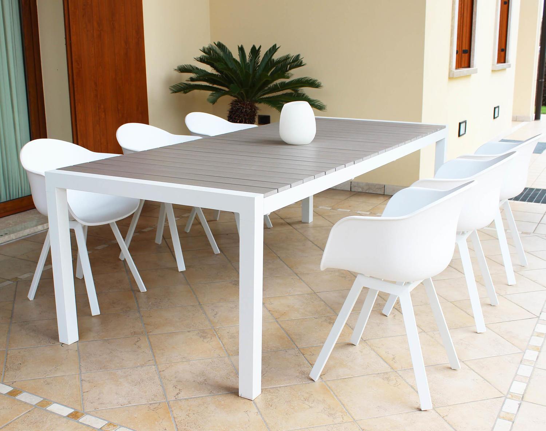 Set Giardino Tavolo Sedie.Tavolo Da Giardino Allungabile Waikikis In Alluminio Bianco Cm 162