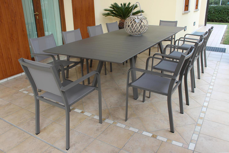 Offerte Tavoli Da Giardino.Offerta Tavolo Alluminio Da Giardino Zanzes Taupe Allungabile