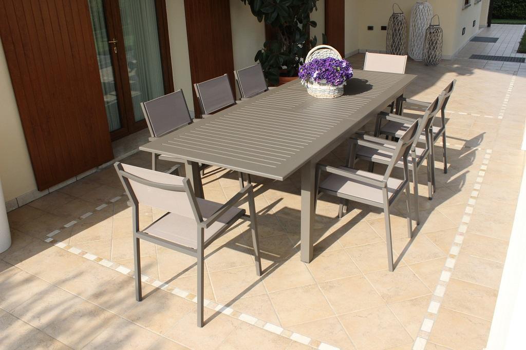 Tavolo Per Terrazzo Allungabile.Tavolo Da Giardino In Alluminio Bianco Cubano Allungabile Misura