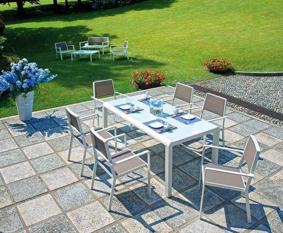 Dining set portofino composto da 6 sedie textilene 600 g taupe 1 tavolo cm 160 x 90 con piano - Tavolo vetro temperato opinioni ...