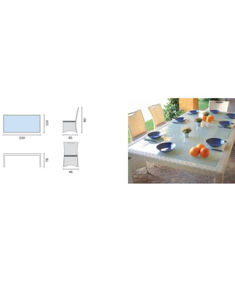 tavolo e Sedie in Rattan Sintetico, Dining Set Djerba