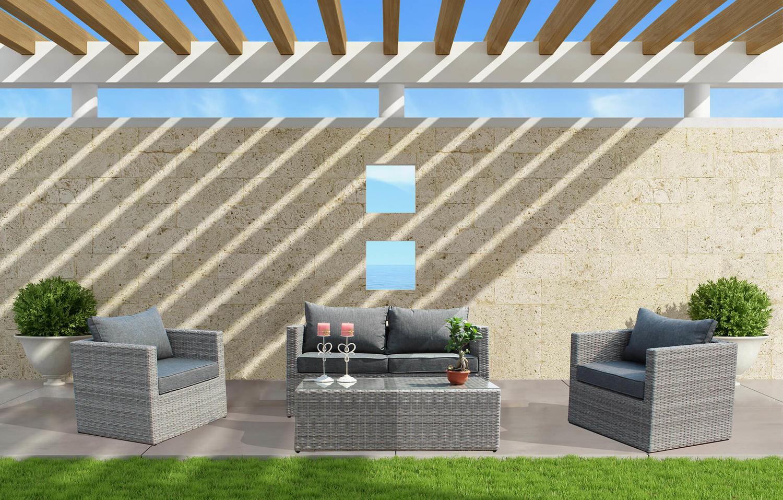 Divani Da Esterno Impermeabili salotto da giardino in alluminio alberobello 2 posti con divano 2 posti 2  poltrone e tavolino in wicker grigio