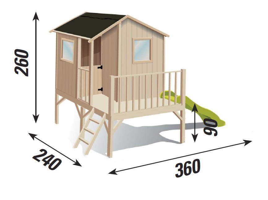 Casetta lampone casa legno colorabile terrazza scivolo for Casetta giardino bimbi usata