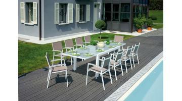 Tavolo Poggibonsi 160 280 X 100 Cm Alluminio Bianco Con Piano In Vetro Milk Rta 29