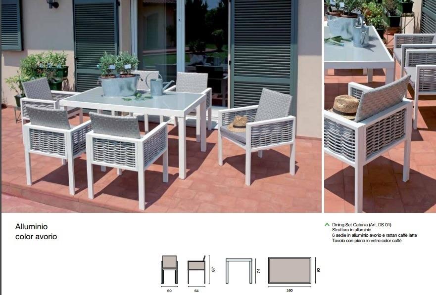 Tavolo In Vetro Con 6 Sedie.Set Da Esterno Con 6 Sedie Alluminio E Rattan E Tavolo Piano Vetro
