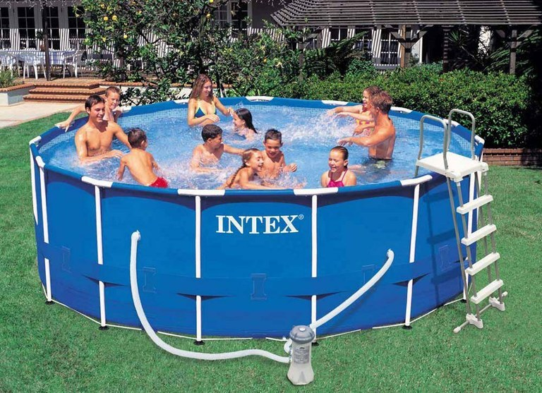 Piscina intex 54946 metal frame rotonda cm 457x122 con - Accessori piscine intex ...