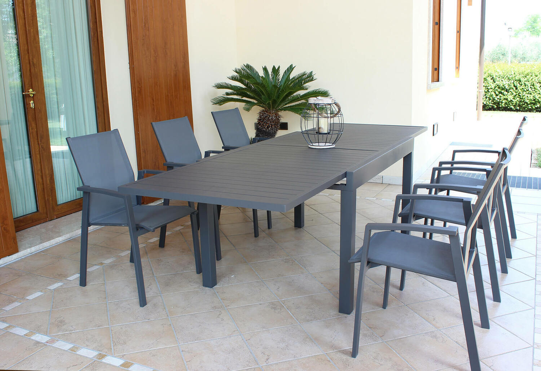 Offerta Tavolo Da Giardino Allungabile Hawaii In Alluminio Antracite Cm 130 270 X 90 H 75