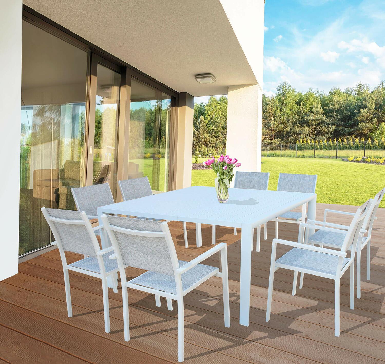 Offerta Tavolo Da Giardino In Alluminio Quadrato Marostica 150 X 150 Allungabile Colore Bianco