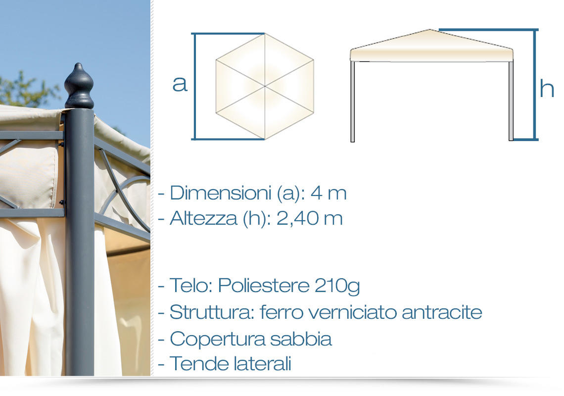 Gazebo Professionale Esagonale Diametro 4 Metri Color Sabbia E Tende