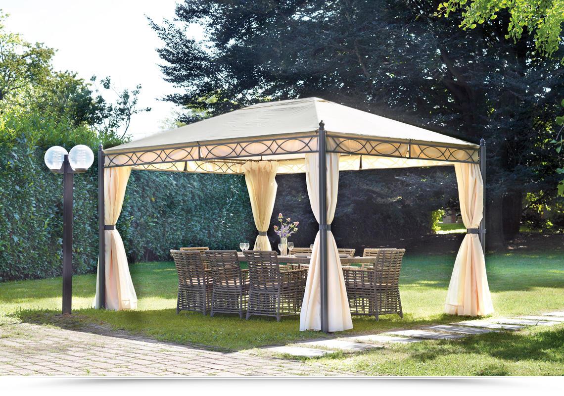 gazebo 3x4 in ferro da giardino completo di tende laterali
