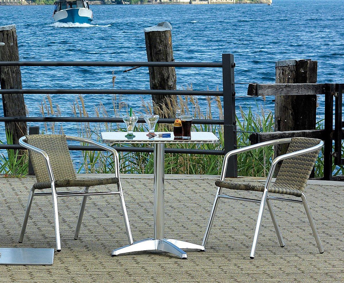 Tavoli Da Locali Pubblici : Sedia da giardino in alluminio wicker contract cc impilabile