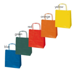 Blister 25 shoppers carta kraft 36x12x41cm twisted assortiti colori natalizi