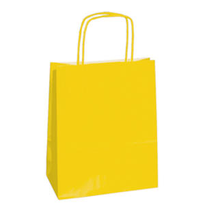 25 shoppers carta kraft 14x9x20cm twisted giallo