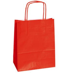 25 shoppers carta kraft 14x9x20cm twisted rosso