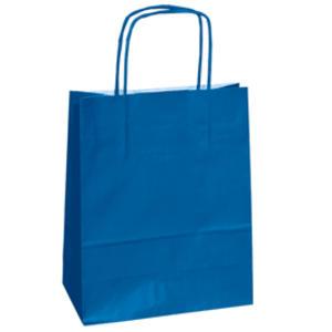 25 shoppers carta kraft 14x9x20cm twisted blu