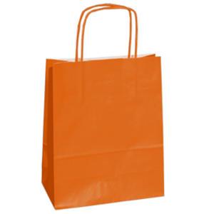 25 shoppers carta kraft 14x9x20cm twisted arancio