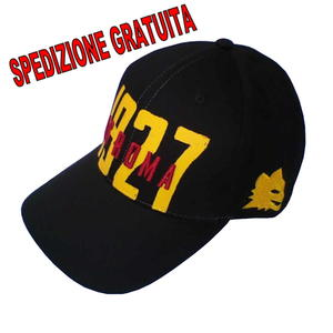 AS ROMA CAPPELLO VISIERA BLACK - LUPETTO STORICO Logo Retrò Originale tag Unica