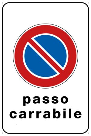 Cartello ''passo carrabile'' cm 20x30