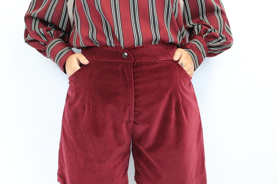 SHORTS VELLUTO BORDEAUX