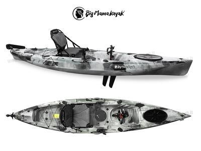Kayak Idrofin 370 Big Mama Kayak Con Sistema Di Pedali A Pinne + Timone + 2 Gavoni + 5 Portacanne + Seggiolino + Pagaia col. GRIGIO